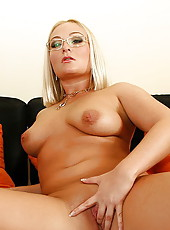Busty secretary w huge tits blows a massive cock