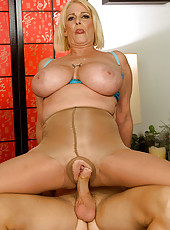 Blonde granny fucks and sucks young stud