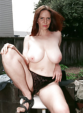Hairy outdoors posing