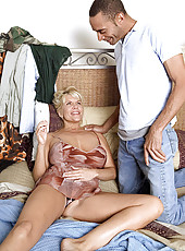 Husband pounds his blonde wifes tits