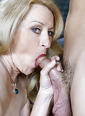 Mature blonde seduces a young guy