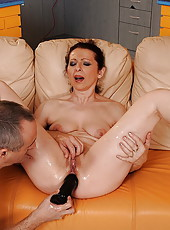 Nasty housewife plowed in ass by fucking machine