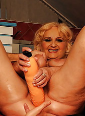 Blonde granny exposing nipples and fucked w dildo