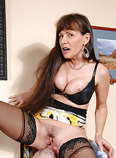 Seductive milf Alexandra Silk sucks cock before getting fucked hard