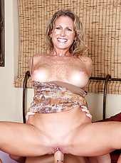 Horny cougar Jade takes on a huge cum load after getting pounded by a hunk stud
