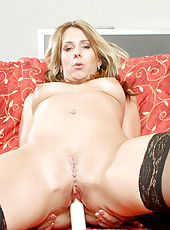Horny guy fucks Anilos Janine with a dildo before ravishing her mature pussy with his cock