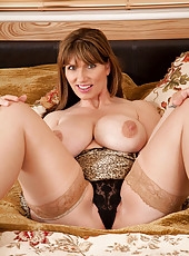 Anilos cougar pinches her huge boobs in her room and fucks her pink pussy really hard