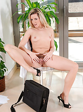 Anilos business woman uses her talented fingers to pleasure her hairy pussy