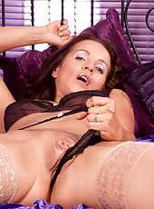 Gorgeous lady Marlyn flaunts her big breasts and pleasures herself with a sex toy