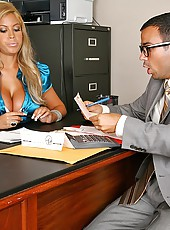 Super hot fucking mini skirt babe gets fucked in the office bu her client in these hot big tits babe fucking cumfaced pics