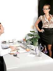 Sujper hot high heel big tits boss calls on her employee to fuck her hard in the office in these explosive desk fucking and cum faced pics and big video