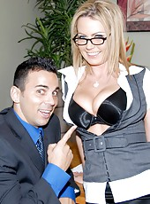 Super hot big tits boss gives her employees a christmas bonus by letting them fuck her and cum all over her big tits in these hot big tits fucking pics