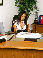 Check out sexy long log big tits babe jessica bangcock get nailed hard on her office desk for a business loan in these hot pics