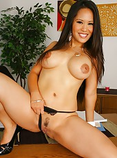 Super sexy big tits asian gets nailed hard on her office desk in these hot pics and big video