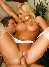 Sexy big tits blonde phoenix rides a hard cock and gets a load on her beautiful tits in this vid and pics