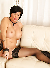 Classy Anilos Shay Fox in her all black undies and stockings fucks a black dong