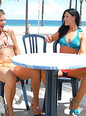 2 super hot bikini milfs suck and fuck their hot pussies after a day at the beach in these hot babe fuck lesbian pics