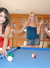 Horny milfs stay for a game of pool that turns into a game of pussy