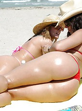 These hot milfs are chillin at the beach in these hot mpgs