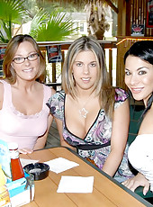 Savannad and her girls hit up the bar and get preped for some hot lesbian dildo fucking in these pics