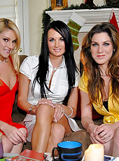 Hot brunette alexis gets together with her milf babes for some lesbian fucking