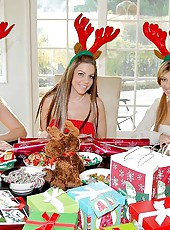 Hot milf victoria plays in these hot christmas holiday raindeer babes