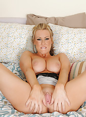 Beautiful blonde Carolyn Reese from AllOver30 spreading her legs