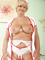 62 year old Samantha from AllOver30 plays a horny nurse in here