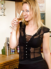 Elegant Tara Trinity has a martini and then loosens up her hot pussy