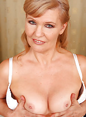 Lena F in white lace spreads her 57 year old pussy for the camera