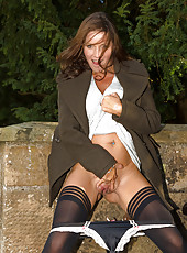 Smoking hot Marlyn spreading her 41 year old legs inside and outdoors