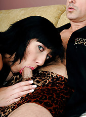 Huge titted Alia from AllOver30 slips her mature pussy on stiff cock