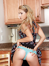 New mature housewife Cherie Deville spreading her goods in the kitchen