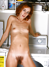 30 year old Miranda from AllOver30 showing off hairy pits and pussy