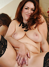 BBW MILF Ryan in black lingerie knows how to put a smile on your face