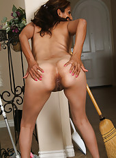 Mexican MILF Jesse has a great time with her broom in here