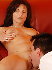 Brunette MILF Linette enjoys sucking and fucking a hard cock