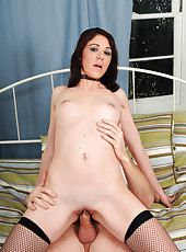 30 year old Katie from AllOver30 takes a hard stiff cock deep inside