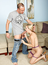 Blonde MILF Hannah S sucks and then fucks throbbing cock