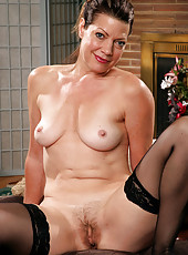 Victoria P from AllOver30 shows off her mature and hairy beaver
