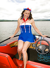Hairy pussied Carla from AllOver30 spreads her legs while sailing
