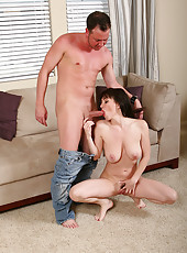 Brunette MILF RayVeness sits and bounces on a rock hard cock