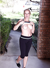 Gail takes a run then works out with weights and her pussy right here