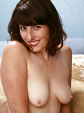 Perky 32 year old Ava from AllOver30 slips out of her hot pink nighty