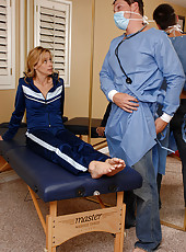 Blonde MILF gets examined and then fucked hard by her doctor