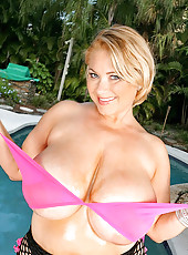 Chk out samantha and her super huge extreme natural tittes in her pink bikini