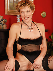 Georgina C from AllOver30 shows off in her black lingerie