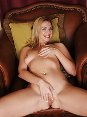 Lovely MILF Samantha Rae slips off her white panties and spreads wide