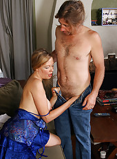 Blonde MILF Lilli sucks and fucks a young mans throbbing tool