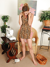 Sexy 51 year old Monique tries on a newly created sun dress in here